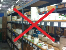 It is not uncommon for cleaning product or lubricant manufacturers to have a label storage room that contains rolls upon rolls of pre-printed label rolls